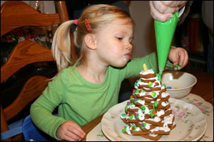 Greta making a ginger bread tree