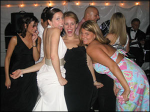 Rebecca, Holly, Melissa, and Courtney on the dance floor