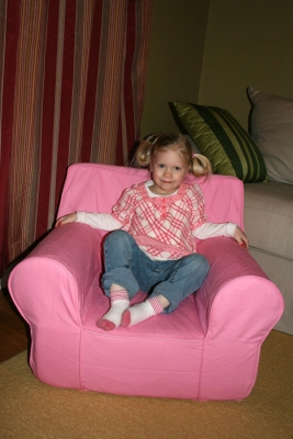 Greta rockin' the Pottery Barn chair